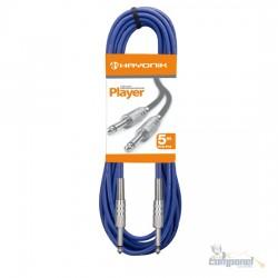 Cabo para Instrumentos P10 x P10 5m PLAYER Preto HAYONIK Azul